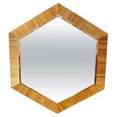 Vintage Italian Bamboo and Brass Hex Mirrors
