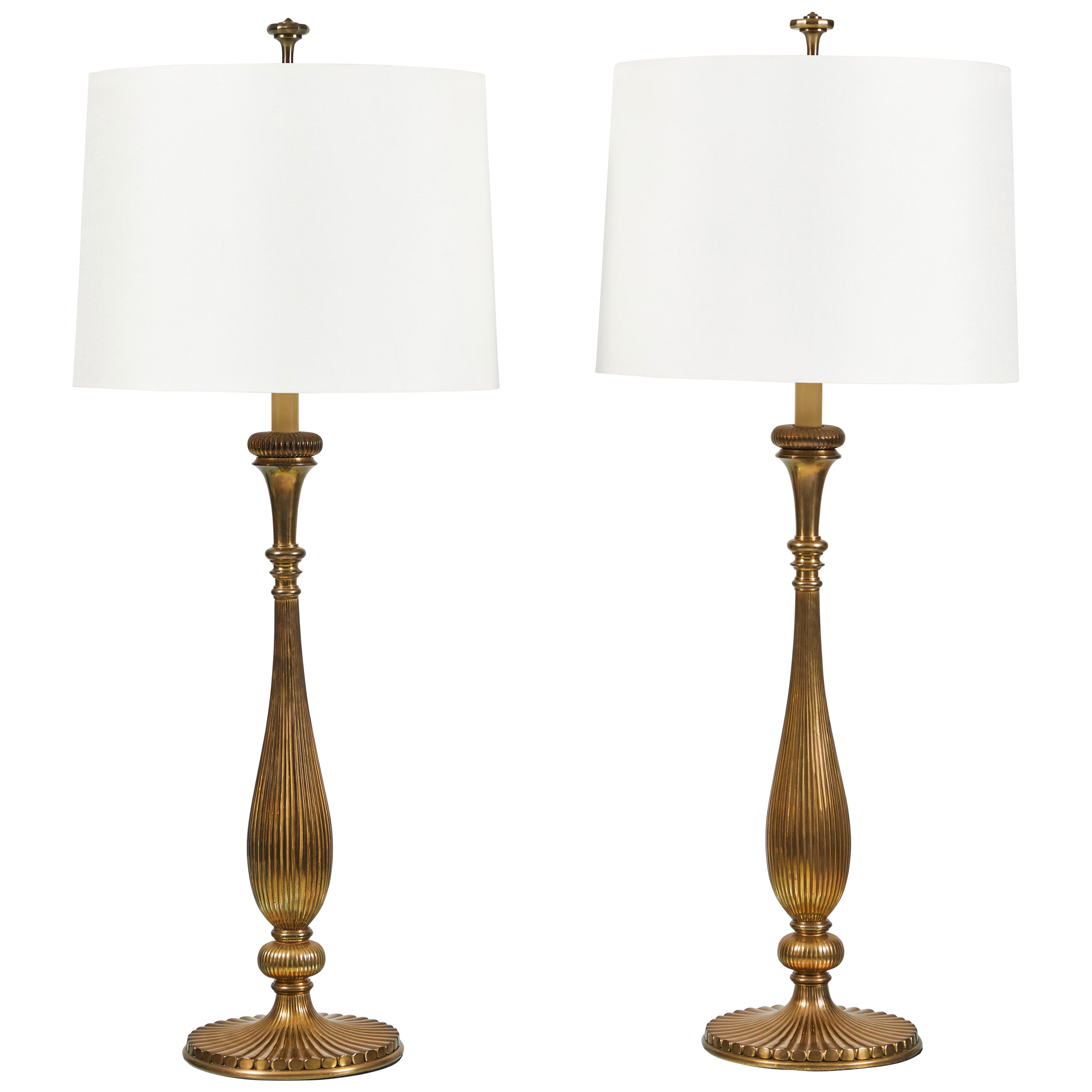 Pair of Brass Lamps by Chapman Lamps