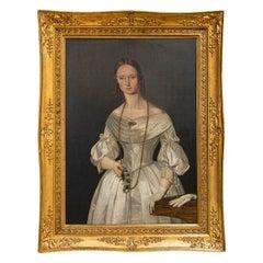 Large Original Oil on Canvas Painting Portrait of Lady Julie Glad