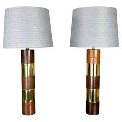 Wood & Brass Plate Banded Pair Lamps Style of Milo Baughman for Thayer Coggin