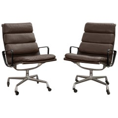 Pair of Eames Soft Pad Executive Leather Office Chair