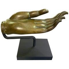 Thai Siam Asian Large Heavy Bronze Buddha Hand Vitarka Mudra Sculpture on Stand