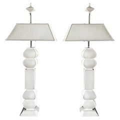 Hollywood Regency Overscale Ceramic Table Lamps, Pair