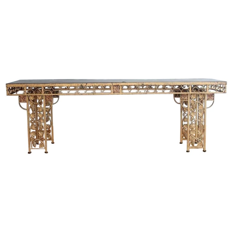 Early 20th Century French Gilded Wrought Iron Winery Table