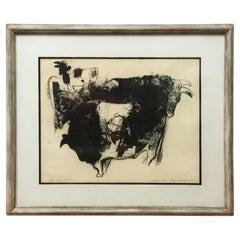 """Cattle"" Lithograph by Kojin Toneyama"