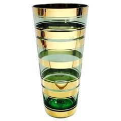 Vintage Green Glass Vase with 24-Karat Gold Overlays, Czech Republic, c. 1950's