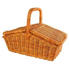 Vintage French Provincial Rattan Lidded Handled Basket