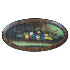 Antique Victorian Pastel Painting Still Life Fruit Oval Framed Realism