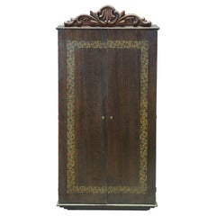 Antique Victorian Walnut Painted & Carved Hideaway Wall Mirror Cabinet