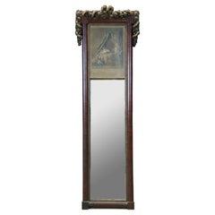 Antique Louis XVI Trumeau Pier Mirror & Engraving Le Lever Romanet Freudenberg