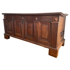 Antique Carved Walnut Gothic Trunk, 1640 France