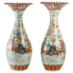 Pair of Large Japanese Vases, Meiji Era