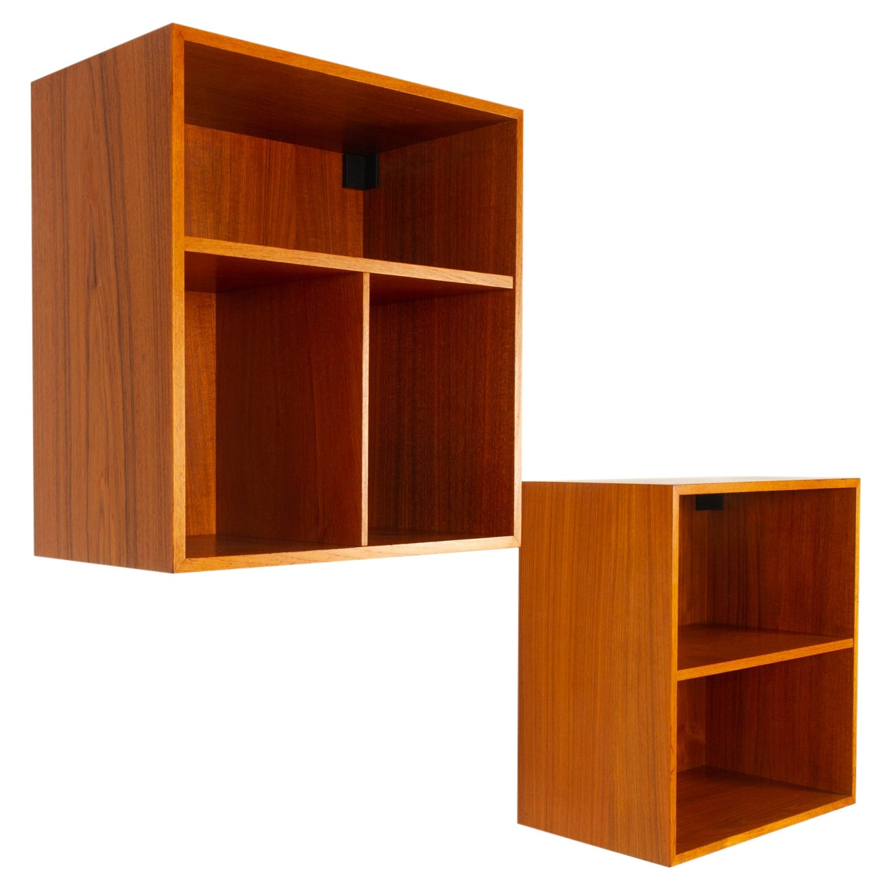 Pair of Danish Modern Wall Mounted Teak Bookcases, 1960s