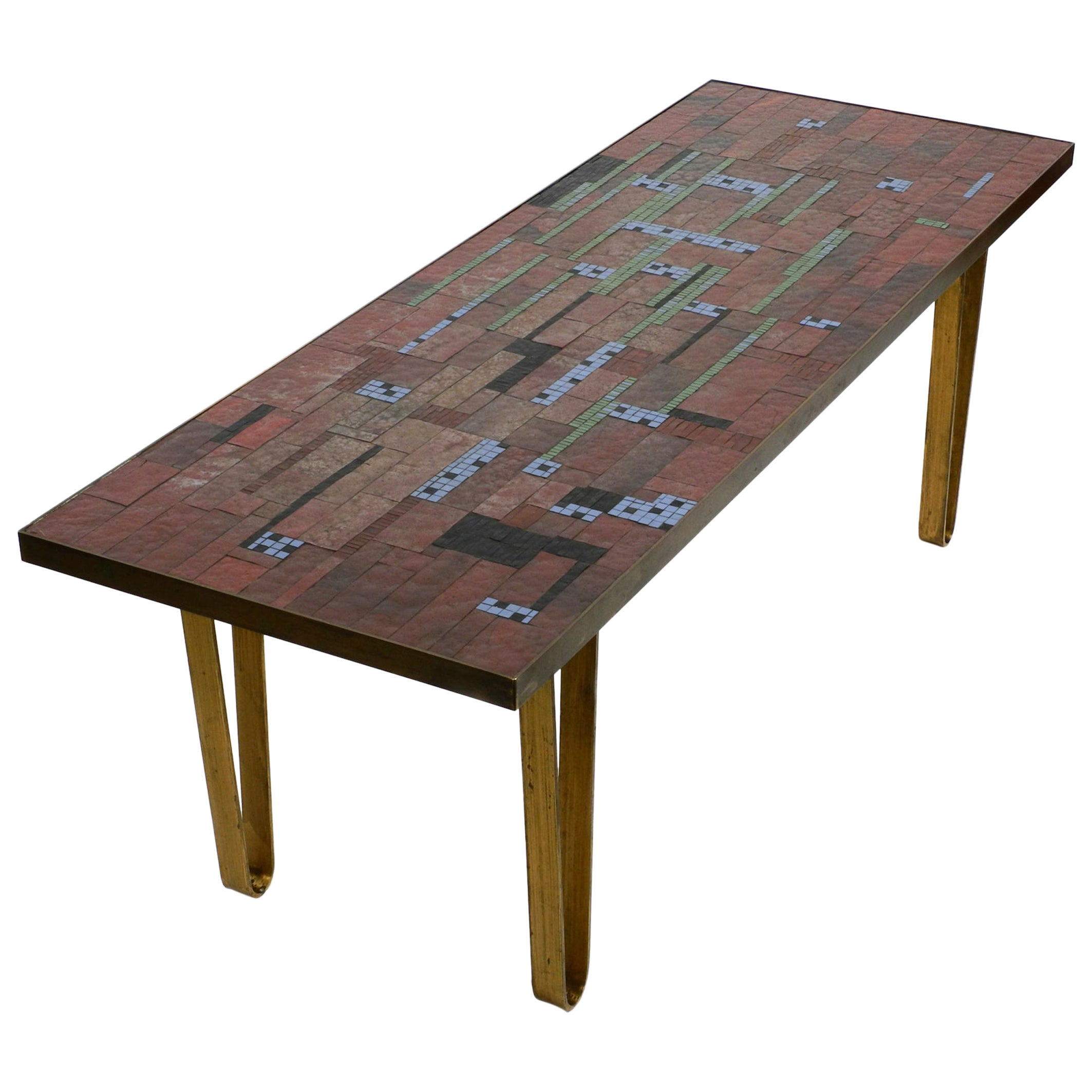 Beautiful Large Long Mid Century Mosaic Coffee Table with Brass Hairpin Legs