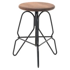 Adjustable Rig Stool in Solid Black Walnut Wood and Hand Bent Steel