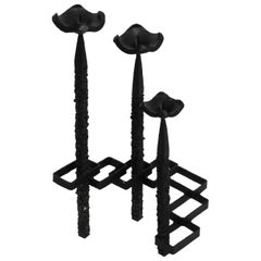 Large Floor or Table Candle Holder Made of Wrought Iron in Brutalist Design
