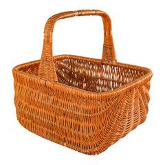 Vintage French Provincial Rattan Handled Basket, 1950