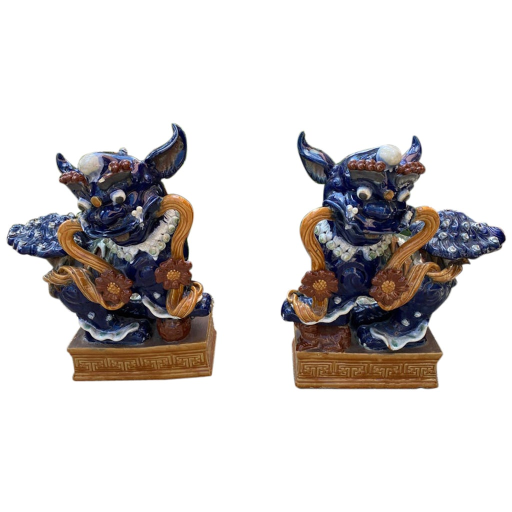 Pair of Chinese Monumental Foo Dogs