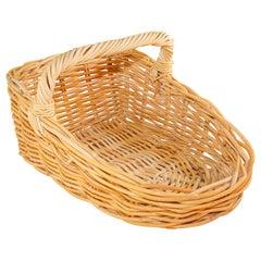 French Provincial Rattan Handled Harvest Basket