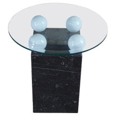 Stone International Italian Marble & Glass Post Modern Side Accent Table S.P.A.