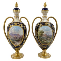 Pair Davenport Porcelain Vases and Covers, c. 1875