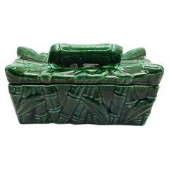 Green Chinoiserie Ceramic Faux Bamboo Decorative Pagoda Box