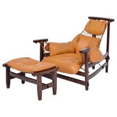 Iconic Brazilian Jangada Lounge Chair with Ottoman by Jean Gillon, 1968