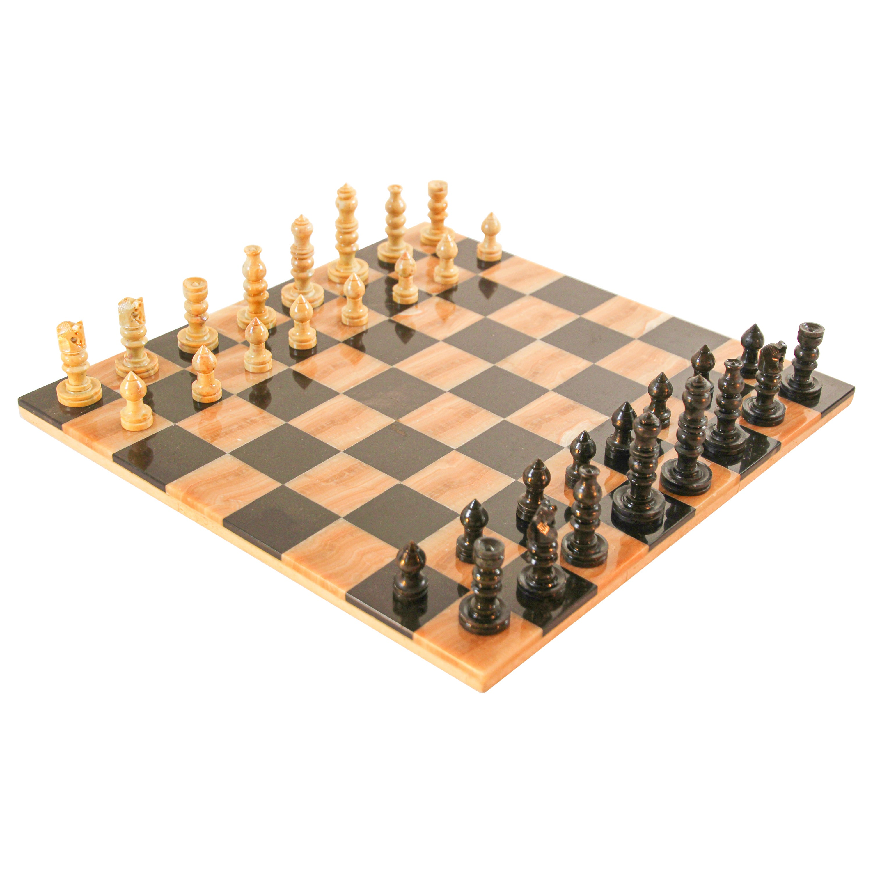 Vintage Italian Marble Chess Board with Hand Carved Pieces