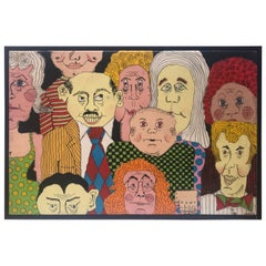 Oil on Canvas Caricature of a Group of Friends Signed Diehl 1973