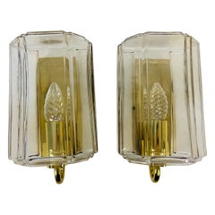 Pair of Brass and Glass Wall Lights by Limburg, 1970s, Germany