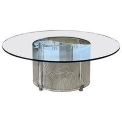 """Marie Claude Lalique """" 3 Lionnes"""" Cristal Table"""