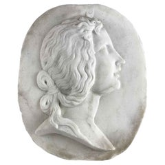 20th Century Italian White Marble Female Portrait Relief with Crescent Moon