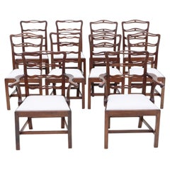 Antique Matched Set of 10 '8+2' Mahogany Georgian Dining Chairs