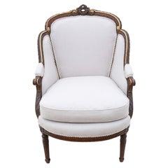 Antique Rare Gilt 19th Century Chair Armchair