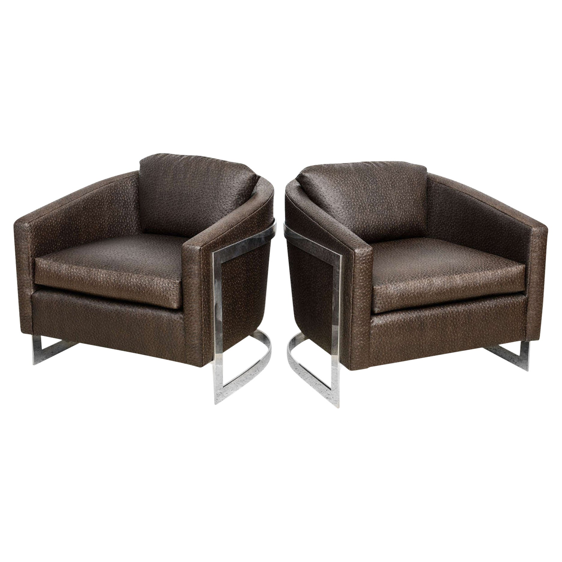 """Pair of Milo Baughman Polished Chrome and """"Ostrich"""" Upholstered Chairs"""