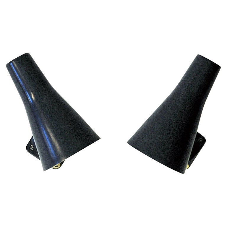 Cone Shaped Blue Metal Wall Sconces Pair by ASEA, Sweden 1950s