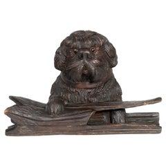 Black Forest Carved Dog Inkwell