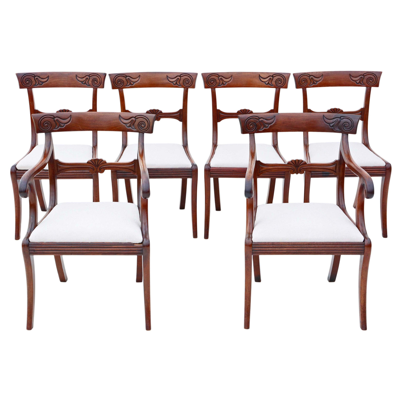 Antique Set of 6 '4 +2' Regency Cuban Mahogany Dining Chairs 19th Century