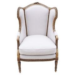 Antique Gilt 19th Century Armchair Chair