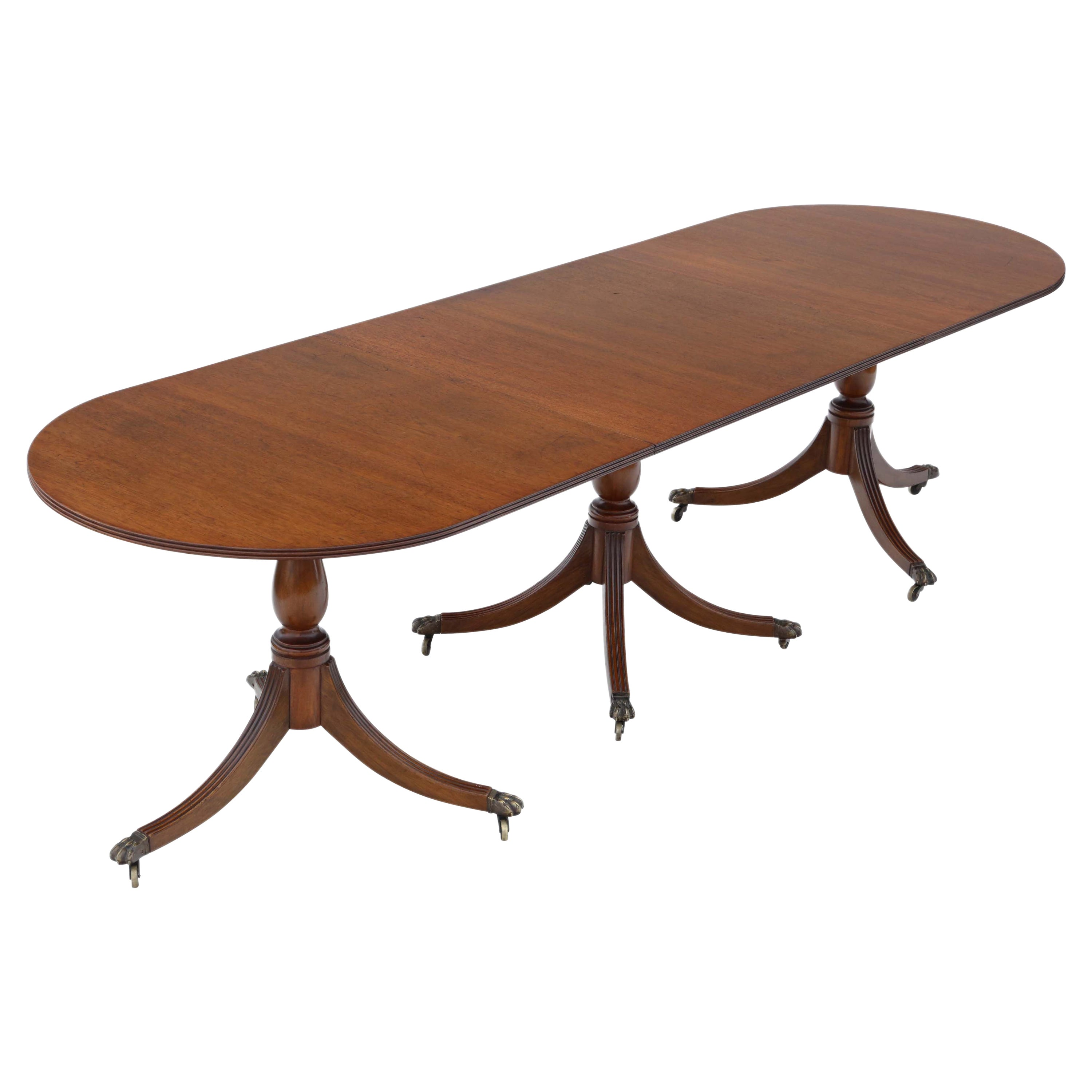 Antique Large Mahogany Extending Pedestal Dining Table