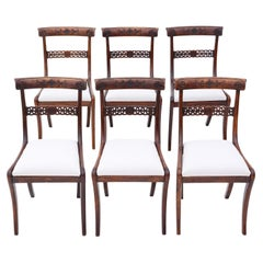 Antique Set of 6 Regency Faux Rosewood Beech Dining Chairs 19th Century
