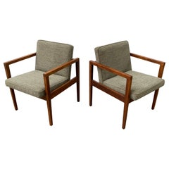 Pair Open Arm Walnut Lounge Chairs in the Style of Jens Risom