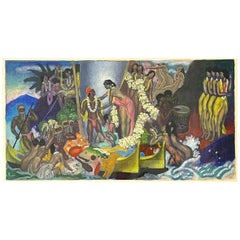 """Aloha, The Universal Word,"" Art Deco Study for Hawaiian Mural Series by Savage"