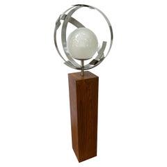 Laurel Globe Walnut and Aluminum Floor Lamp