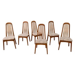 Set of 6 Solid Teak High Back Dining Chairs by Benny Linden