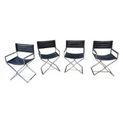 Set of 4 Chrome Director Chairs by Virtue Bros. California