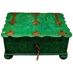 English Regency Period Faux Malachite and Engraved Brass Dressing Box Circa 1815