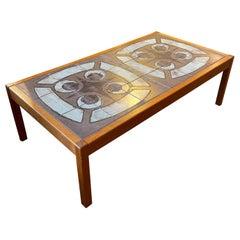 Danish Modern Teak and Ceramic Tile Coffee Table
