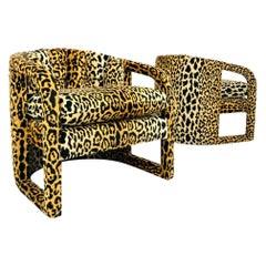 Pair of Custom Barrel-Back Armchairs in Leopard Velvet