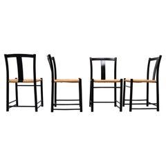 Ebonized Dining Chairs Scandinavian, 1960s